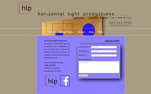 Screenshot of Contact Page horizontallight.com - Contact Us   Horizontal Light Productions - captured Sept. 29, 2018