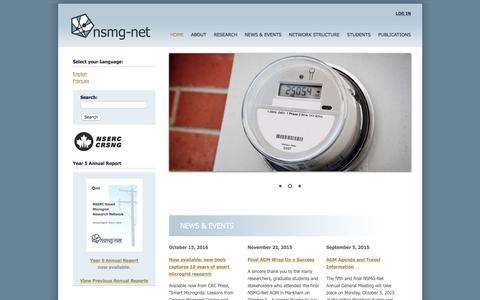 Screenshot of Home Page smart-microgrid.ca - NSMG-Net - captured Nov. 30, 2016