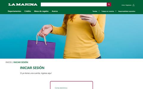 Screenshot of Login Page lamarina.com.mx - Iniciar sesión - La Marina va con tu estilo - captured Oct. 6, 2018