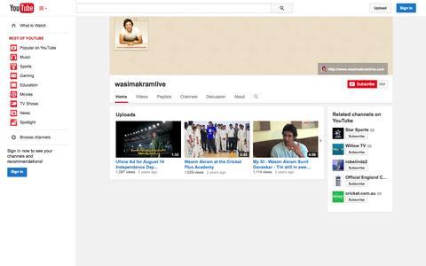 Screenshot of YouTube Page youtube.com - wasimakramlive  - YouTube - captured Nov. 3, 2014