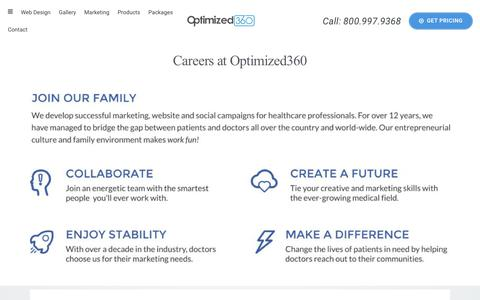 Screenshot of Jobs Page optimized360.com - Careers and Open Positions - captured July 14, 2018