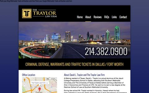 Screenshot of About Page traylorlawfirm.com - About | Traffic & Criminal Defense Lawyer | Traylor Law Firm - captured Oct. 9, 2014