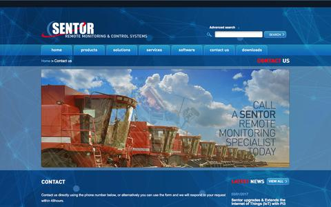 Screenshot of Contact Page sentor.com - Contact Sentor Remote Monitoring & Control Systems - captured July 8, 2018