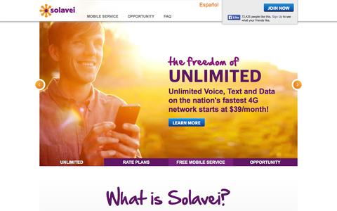 Screenshot of Home Page solavei.com - Solavei   Sign Up, Log In, or Learn More - captured Sept. 17, 2014