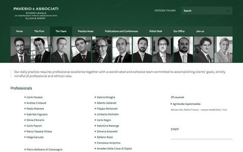 Screenshot of Team Page pavesioassociati.it - The Team | Pavesio e Associati - captured Oct. 2, 2014