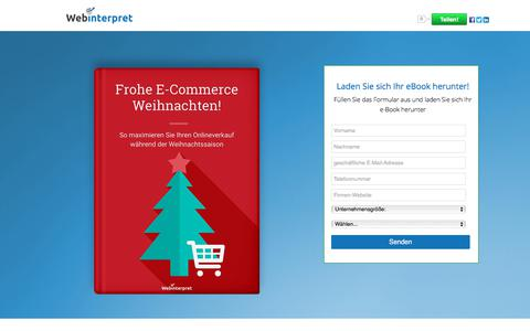 Screenshot of Landing Page webinterpret.com - Frohe E-Commerce Weihnachten!s: Maximieren Sie Ihren Onlineverkauf während der Weihnachtssaison 2016 - captured March 27, 2018