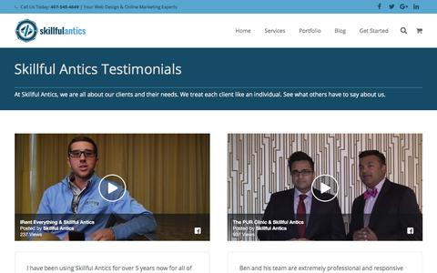 Screenshot of Testimonials Page skillfulantics.com - Awesome Customer Testimonials of Skillful Antics Clients - captured Nov. 2, 2017