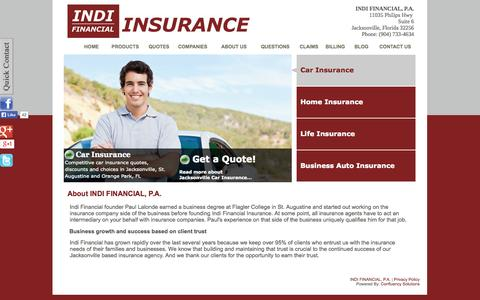 Screenshot of About Page indifinancial.com - About INDI Financial | Insurance in Jacksonville, St. Augustine, Orange Park, FL - captured Oct. 3, 2014