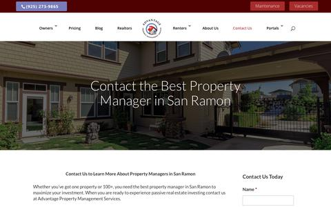 Screenshot of Contact Page advantagepms.com - Contact A Property Manager Today | Advantage PMS - captured Oct. 3, 2018