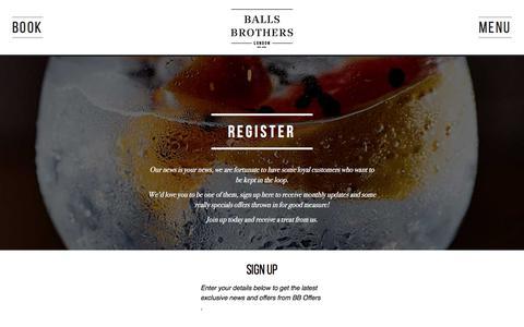 Screenshot of Signup Page ballsbrothers.co.uk - Register Online Today, London Bars - Balls Brothers - captured Jan. 26, 2018
