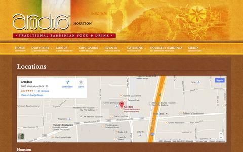 Screenshot of Locations Page arcodoro.com - Locations - Arcodoro & Arcodoro Pomodoro - captured Oct. 4, 2014