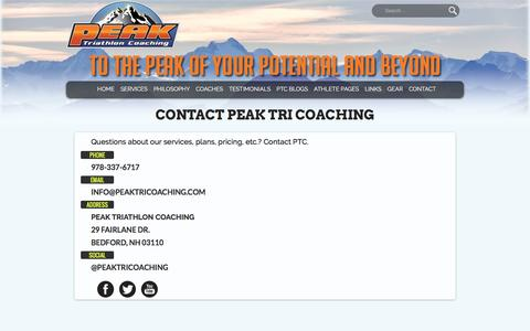 Screenshot of Contact Page peaktricoaching.com - Contact Peak Tri Coaching - Peak Tri Coaching - captured Oct. 27, 2016