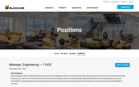 Screenshot of Jobs Page blackline.com - Manager, Engineering| Woodland Hills, CA, United States - captured Nov. 29, 2019