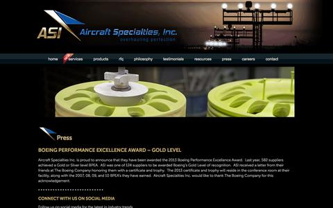 Screenshot of Press Page asibrake.com - Press | Aircraft Specialties, Inc. - captured Oct. 4, 2014
