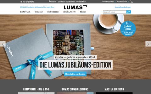 Screenshot of Home Page lumas.de - DE - Fotografie, Foto kunst, Bilder online bei LUMAS - captured Sept. 25, 2014