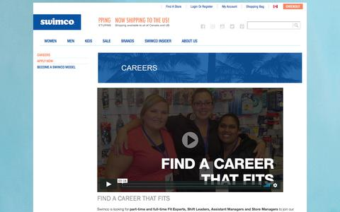 Screenshot of Jobs Page swimco.com - A career in retail with bursaries, RSP matching, and more   Swimco - captured Sept. 21, 2018