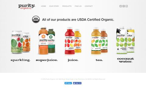 Screenshot of Products Page purityorganic.com - Purity.Organic Juice, Fruit, and Coconut Water | Our Juices - captured July 14, 2018