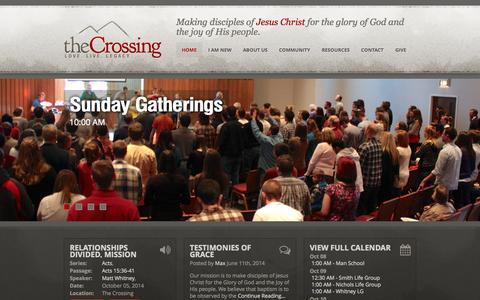 Screenshot of Home Page thecrossingfc.org - The Crossing | Love.  Live.  Legacy. - captured Oct. 6, 2014