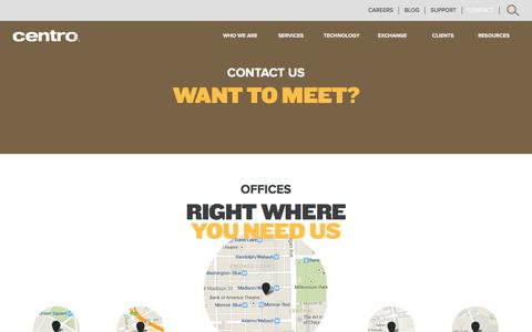 Screenshot of Contact Page centro.net - Contact Us | Centro - captured July 22, 2017