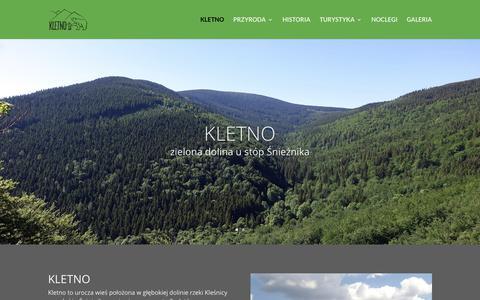 Screenshot of Home Page kletno.info.pl - Kletno   Zielona dolina u stóp Śnieżnika - captured Oct. 27, 2018