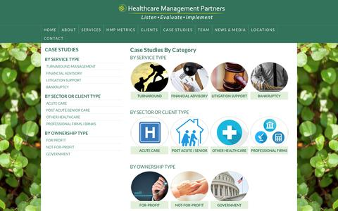 Screenshot of Case Studies Page hcmpllc.com - Case Studies By Category – Healthcare Management Partners - captured Nov. 5, 2016