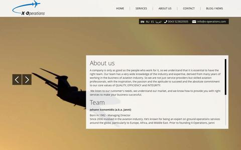 Screenshot of About Page x-operations.com - About Us - X-Operations - Worldwide Flight Operation Support - captured Sept. 30, 2014