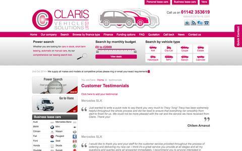 Screenshot of Testimonials Page claris-vs.com - Claris Vehicle Solutions Ltd - captured Oct. 2, 2014