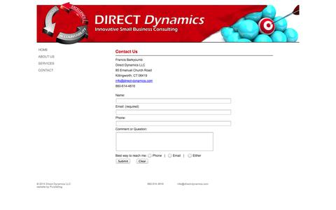 Screenshot of Contact Page direct-dynamics.com - Direct Dynamics, LLC - captured Oct. 5, 2014