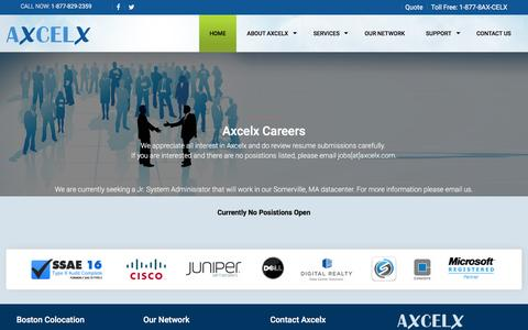 Screenshot of Jobs Page axcelx.com - Your premier Boston Consulting Careers - captured Feb. 6, 2016