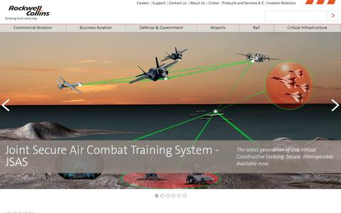 Screenshot of Home Page rockwellcollins.com - Rockwell Collins - Building trust every day - captured Oct. 9, 2016