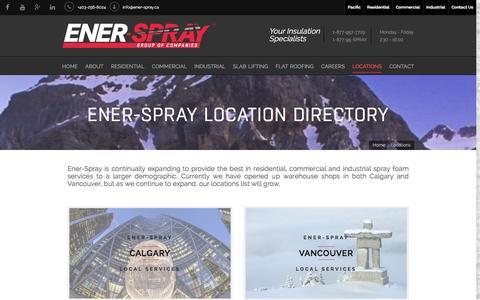 Screenshot of Locations Page ener-spray.ca - Calgary & Vancouver Spray Foam Locations   Ener-Spray - captured Jan. 29, 2016