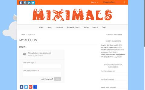 Screenshot of Login Page miximals.com - My Account - Miximals & Co.Miximals & Co. - captured Dec. 13, 2016