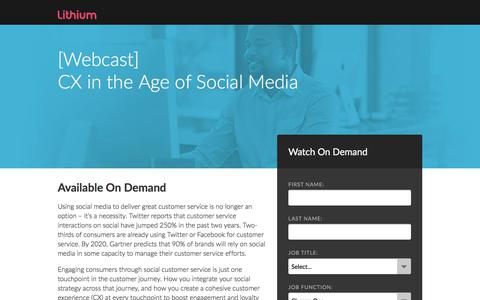 Screenshot of Landing Page lithium.com - [Webcast] CX in the Age of Social Media - captured Feb. 28, 2018