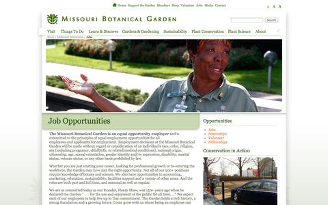 Screenshot of Jobs Page missouribotanicalgarden.org - Job Opportunities - captured Sept. 22, 2014