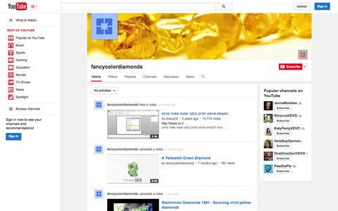 Screenshot of YouTube Page youtube.com - fancycolordiamonds  - YouTube - captured Nov. 3, 2014