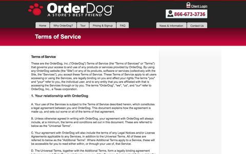 Screenshot of Terms Page orderdog.com - Terms of Service - Order DogOrder Dog - captured Nov. 29, 2016