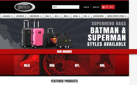 Screenshot of Home Page sportsluggage.com - Denco Sports Luggage - Officially Licensed Bags - captured Sept. 12, 2015