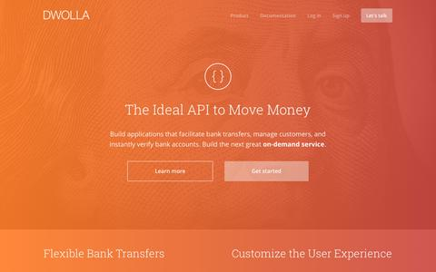Screenshot of Home Page dwolla.com - Dwolla: Bank Transfers for Platforms, Payouts, and More - captured Oct. 8, 2016