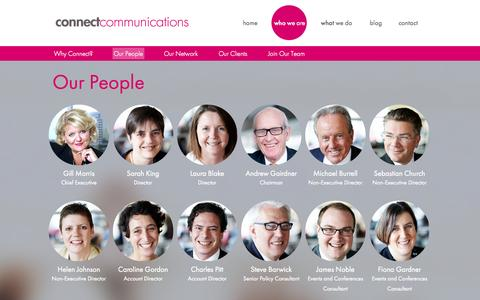 Screenshot of Team Page connectpa.co.uk - Our People - Connect Communications - captured Oct. 2, 2014