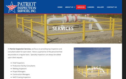 Screenshot of Services Page patriotinsp.com - Services – Patriot Inpsection Services, LLC - captured Sept. 27, 2018