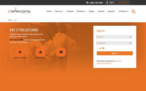 Screenshot of Login Page ctelecoms.com.sa - Ctelecoms for IT Services and Business Solutions - captured Jan. 23, 2016