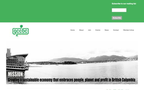 Screenshot of Home Page About Page greenchamberofcommercebc.org - Green Chamber of Commerce BC - captured Sept. 30, 2014