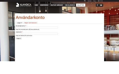 Screenshot of Login Page alandica.ax - Användarkonto | www.alandica.ax - captured Oct. 4, 2014