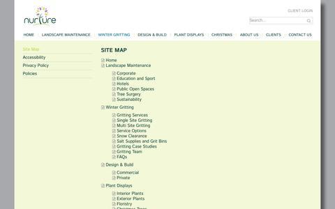 Screenshot of Site Map Page nurturelandscapes.co.uk - Site Map - captured Nov. 7, 2018