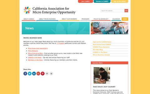 Screenshot of Press Page microbiz.org - Micro-business News  «  CAMEO - captured Oct. 16, 2016