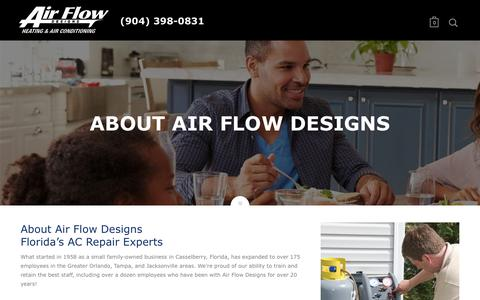 Screenshot of About Page airflowdesigns.com - About Air Flow Designs - Florida Residential AC Repair Experts - captured May 29, 2017