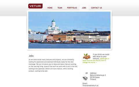 Screenshot of Jobs Page veturi.ac - Jobs | Veturi - captured Oct. 7, 2014
