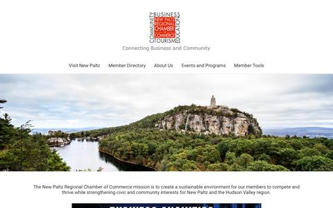 Screenshot of Home Page newpaltzchamber.org - New Paltz Regional Chamber of Commerce | New Paltz, NY 12561 - Home - captured Oct. 1, 2018