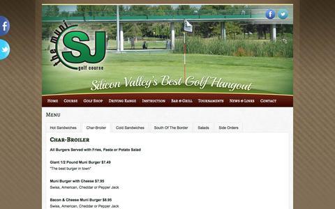 Screenshot of Menu Page sjmuni.com - Menu   San Jose Municipal Golf Course - captured Oct. 4, 2014