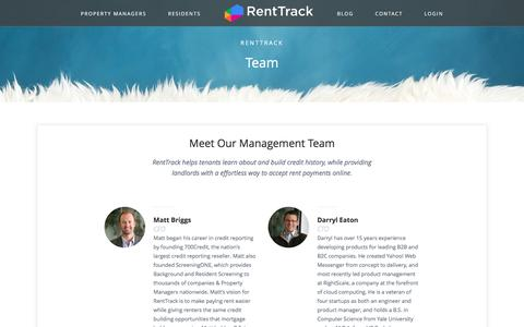 Screenshot of Team Page renttrack.com - Team | RentTrack - captured June 13, 2017